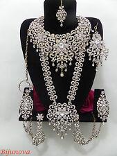 New Indian Bridal Bollywood Costume Jewellery Set Gold Tone Big Design Wear