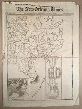 Rare 1873 NEW ORLEANS TIMES with Map Proposed FORT ST. PHILIP CANAL LA Louisiana