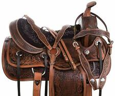All Natural Ranch Ride Cowhide Western Leather Horse Saddle Comfy Seat Tack Set.
