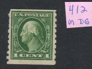 US Scott #412 Mint og 1c Washington  F sound, machine shortened perfs to left!