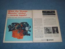 "1963 Plymouth 426 Wedge Vintage 2pg Color Ad ""When the ""Orange Monster"" Strikes"