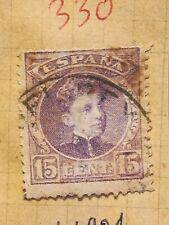 N°330 Timbre oblitéré à décoller BE Espagne - 1901 - Alfonso - 15c lilas