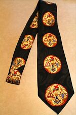 "Mens Black Mason Symbol Necktie Fraternal Organization Steven Harris 58""W #88"