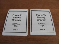 2 GENIE Aerial Lift 'Power to Battery Charger 230V' LABEL decal #43658 B (T-13)