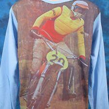 NOS vtg 70s MOTOCROSS PHOTO PRINT L/S JERSEY T-Shirt S motorcycle mx biker 80s