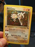 Hitmonlee 1st Edition Fossil Holo Foil 7/62 Pokemon Card WOTC