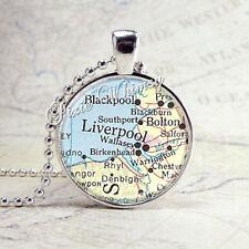 ENGLAND Vintage Map Pendant Necklace Liverpool Handmade Art Glass Jewelry