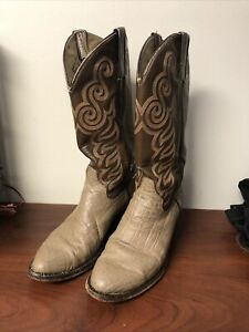 Vintage Cowtown Cowboy Boots Size 7D Gray Elephant Leather S-148