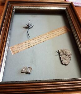 Unique Genuine Pieces + Wire of The Berlin Wall Mounted in Wooden Display Frame