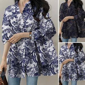 Women Casual Summer Loose Floral Print Shirt Tops Oversized Blouse T-Shirt Plus