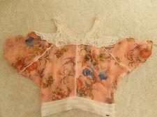 $129 NWT GUESS Kimono Cold Shoulder Top Lace & Pink Multi Size Medium M