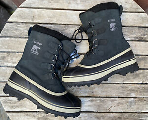 Sorel Men's Caribou Snow Boot Black/Tusk Size 9