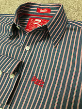 GORGEOUS SUPERDRY BUE RED BENGAL STRIPE SHIRT M MEDIUM COST £75