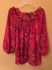Chaps Pink, Brown, And Cream 3/4 Sleeve Shirt. Size Large