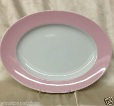 "THOMAS ROSENTHAL SUNNY DAY ROSE LIGHT PINK RIM 12 3/4"" OVAL PLATTER GERMANY"
