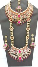 INDIAN BRIDAL STYLE 8 PIECE JEWELLERY SET GOLD PLATED CERISE CLEAR STONES NEW