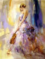CHENPAT490 handing violin long dress girl portrait  oil painting art canvas