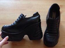 Retro 90s School Spice girl Platform Wedge Zip Black Shoes - Uk5 / Eu38 / Us7