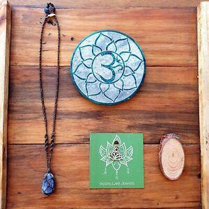 Kyanite Crystal Blue Gemstone Pendant Necklace Yoga Boho EcoHemp GypsyLee Jewels