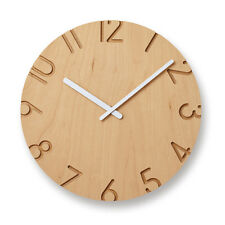 Contemporary Craved Wood Birch Wall Clock | Lemnos Japan | Unique