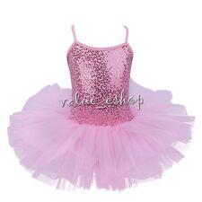 Girls Ballerina Costume Skirt Ballet Dance Wear Leotard Gym Tutu Dress Pink 4-5