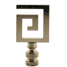 Brushed Nickel Metal Greek Key Lamp Shade Finial