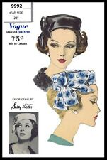Vogue 9992 Sally Victor Bow Pillbox Hat Cap Fabric Sewing Pattern Chemo Alopecia