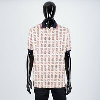 GUCCI 980$ Oversize Polo Shirt With Interlocking G Print In Ivory