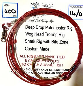 Shark rig 14/0 Stainless forged circle hook 400lb 3m wire trace Nob Head Fishing