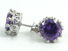 Women's 18 Carat White Gold Plated Purple Cubic Zircon Stud Earrings Jewellery