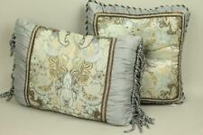 New Blue Gray 2 Piece Traditional Floral Pillow Set Fringed Ruched