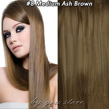 100% Good Blonde Clip in Real Human Hair Extensions Full Head 7/8Pieces US SU984