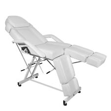 White Reclining  Barber Chair Salon Massage Beauty Hairdressing Tattoo Couch Bed