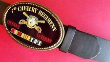 Vietnam Veteran 7th CAVALRY REGIMENT Epoxy Belt Buckle &Blk bonded Leather belt