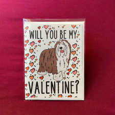 Bearded Collie Valentines Day Card Handmade Holiday Dog Vday Card for All Ages
