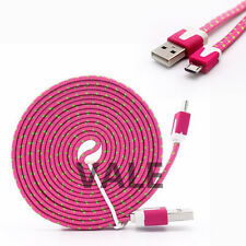 2M/6FT Braided Flat Micro USB 2.0 Data Charger Cable Cord For Android Cellphones