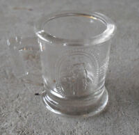 "Antique Small American Pattern Glass Mug with Mom and Angel Girl 2"" T Look"