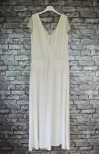 Women's Elegant Long Ivory White Ballgown Evening Gown Lace Shoulder Uk Size 14