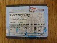 29/04/2000 Ticket: Newcastle United v Coventry City  (folded). Footy Progs/Bobfr
