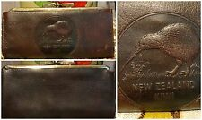 60s New Zealand Kiwi Bird Stamped Goatskin Leather Billfold Wallet