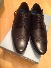 Mens Black Laced Stone Creek Brogue Shoes, Size 7 New Shop Clearance RRP £34