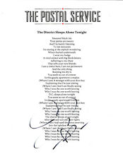 SINGER JENNY LEWIS SIGNED AUTHENTIC 8.5x11 THE POSTAL SERVICE LYRIC SHEET COA