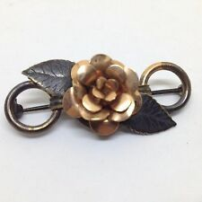 Vintage Tri-COLORED ROSE FLOWER BROOCH PIN Costume Jewelry