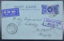England arrived from Baghdad/Iraq to Hungary 1935 Interest. Airmail Flight Card