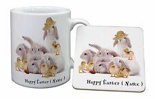 Personalised Rabbits+Chicks Mug+Coaster Christmas/Birthday Gift Ide, EASTER-P1MC
