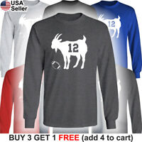 GOAT Long T-Shirt Tom Brady 12 Tampa Bay Buccaneers Greatest of all Time TB Bucs