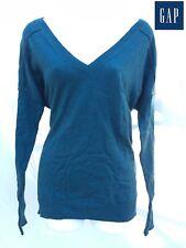 NWT $50 Sz. S GAP Womens Loose V-Neck Slub Sweater Knit Top Deep Water Tee Green