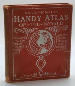 RAND MCNALLY HANDY ATLAS OF WORLD: HISTORICAL, POLITICAL, COMMERCIAL- 1922 ILLUS