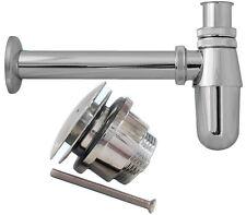 Chrome Basin Sink Bottle Trap Waste + Click Clack Plug Pipe Bathroom Bath