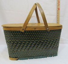 Vintage Picnic Basket Green Woven Reed Board Bottom Hinged Top Movable Handles